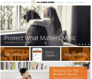 The homepage of Alarm.com