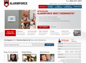 The homepage of AlarmForce