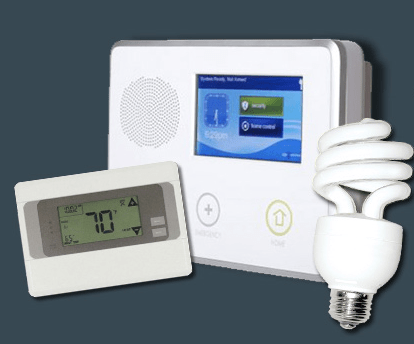 Alliance Security thermostat and smart lights