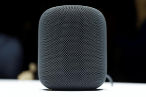 The black Apple HomePod