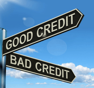 A sign pointing towards good and bad credit results