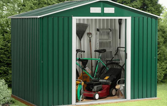 A Green Metallic Garden Shed Full Of Goods