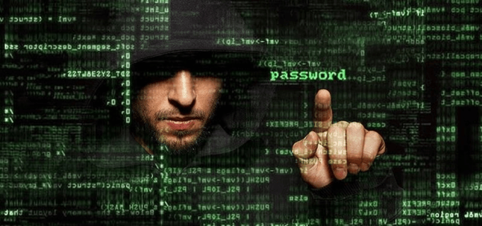 A hacker accessing your password through the cyberspace