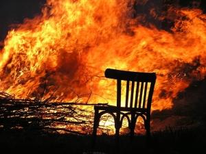 A burning room