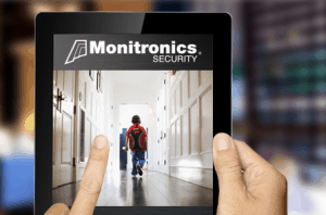 Monitronics surveillance system indicated by a live stream on a tablet