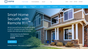 Ooma Home Security homepage