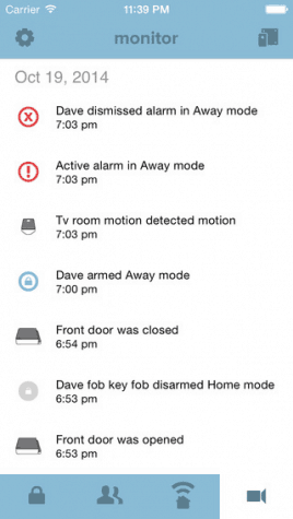 The notifications displayed on Scout Alarm's app