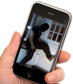 A smartphone app displaying a burglar