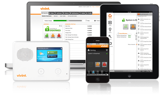 Controlling Vivint home security system with apps and online control panel